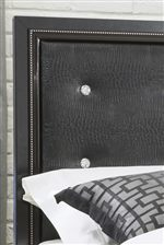 Padded Upholstered Tufted Headboards with Faux Crystal Faceted Buttons
