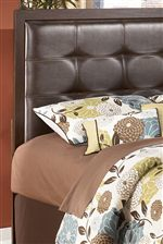Dark Brown Faux Leather Tufted Headboard