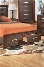 Storage Bed with Two Footboard Drawers