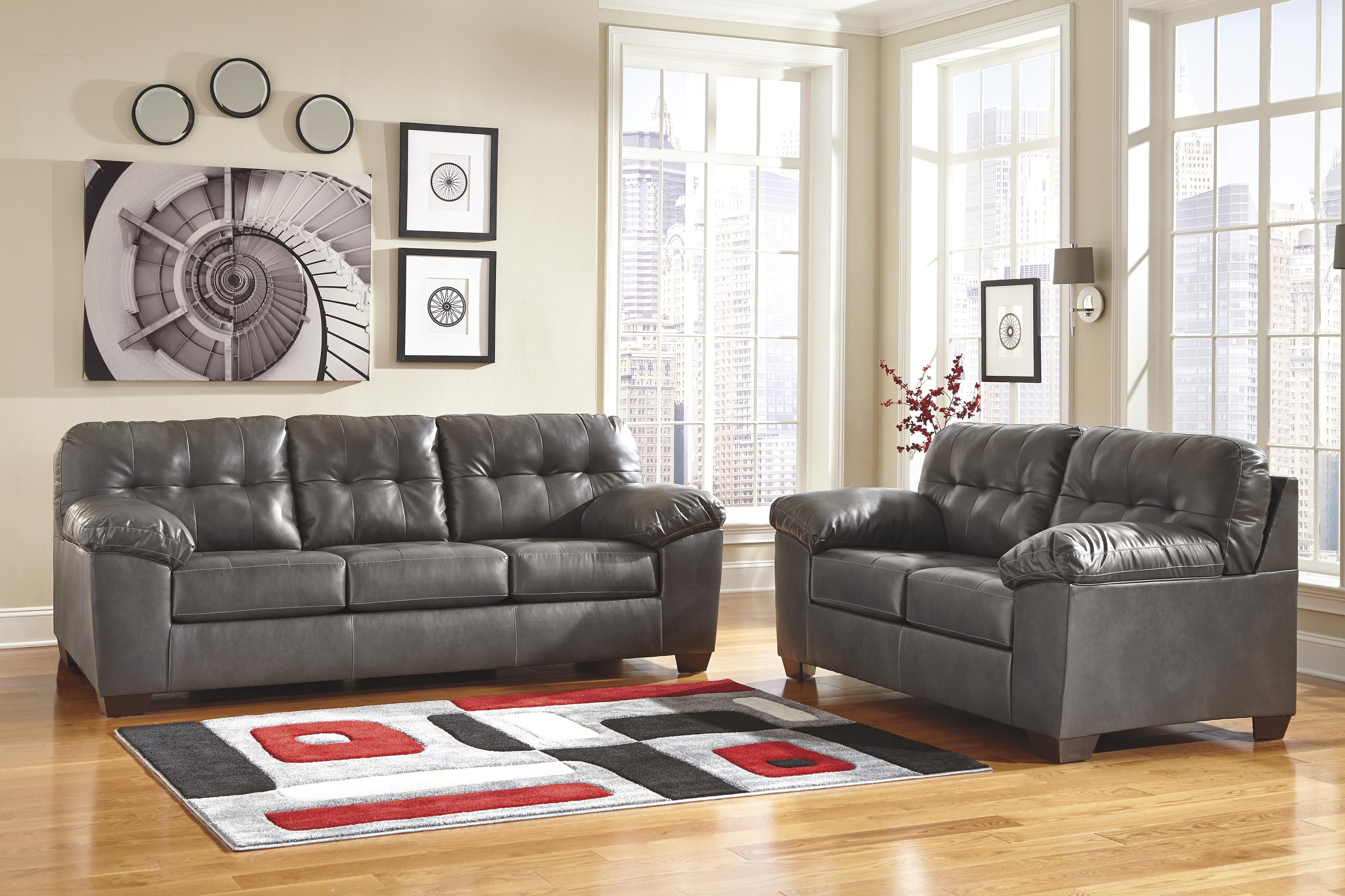 Signature Design By Ashley Alliston Durablend Gray Contemporary Loveseat W Pillow Arms Wayside Furniture Love Seat