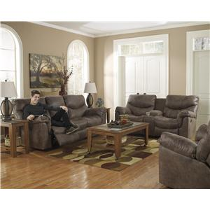 Signature Design by Ashley Alzena - Gunsmoke Double Reclining Power Loveseat with Console