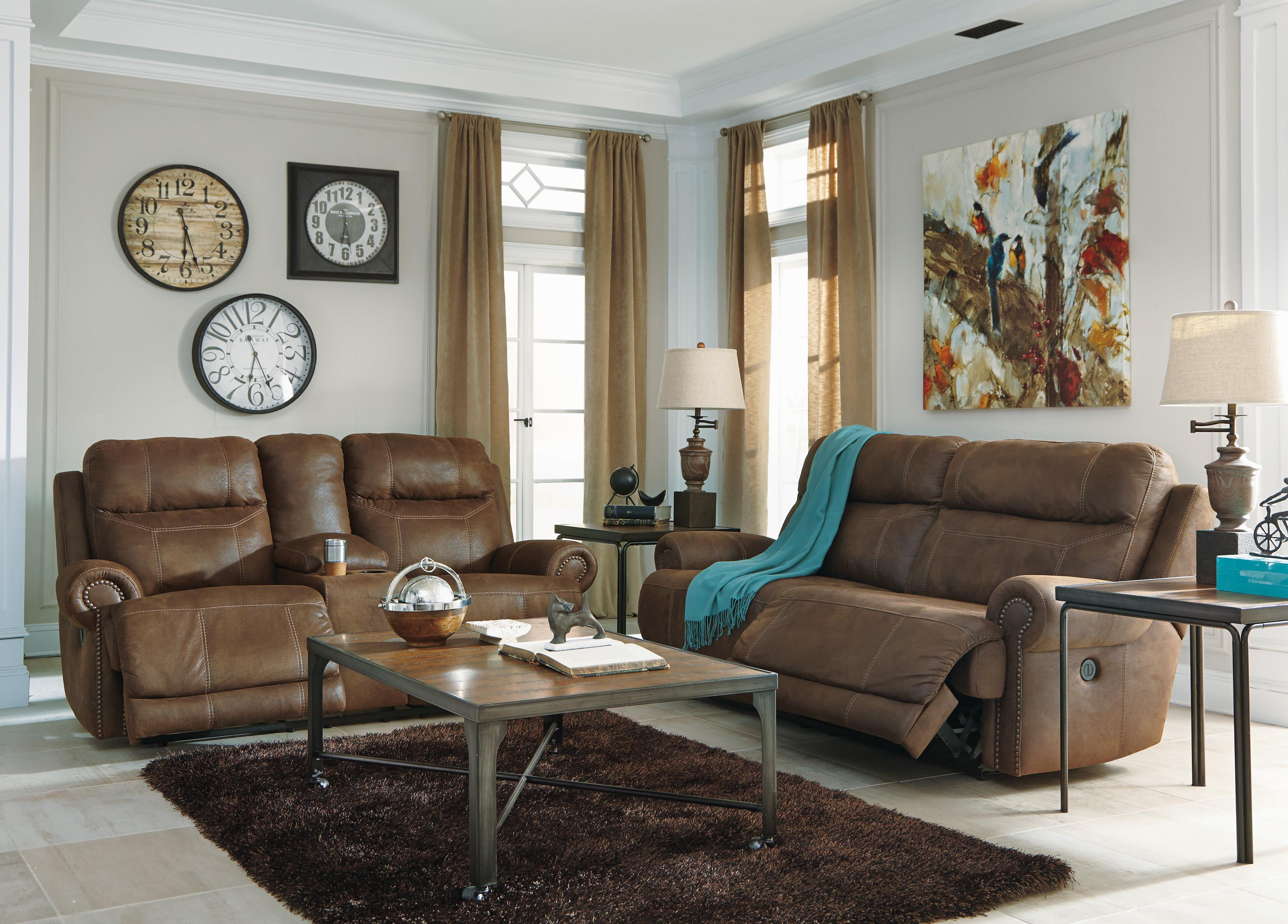 Signature Design by Ashley Austere Brown 2 Seat Reclining Sofa