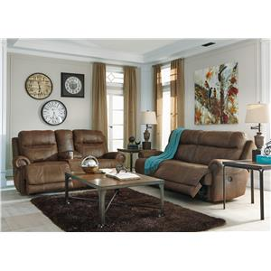 Signature Design by Ashley Austere - Brown Zero Wall Power Wide Recliner with Rolled Arms & Nailhead Trim