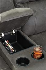 Loveseat Includes 2 Cup Holders and Storage Compartment
