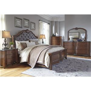 Signature Design by Ashley Balinder Transitional Dresser with Serpentine Drawers and Bluestone Top & Bedroom Mirror