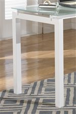White Metal and Frosted Glass Top L-Shape Table Desk