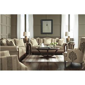 Signature Design by Ashley Berwyn View Transitional Loveseat with Camel Back and Showood Trim