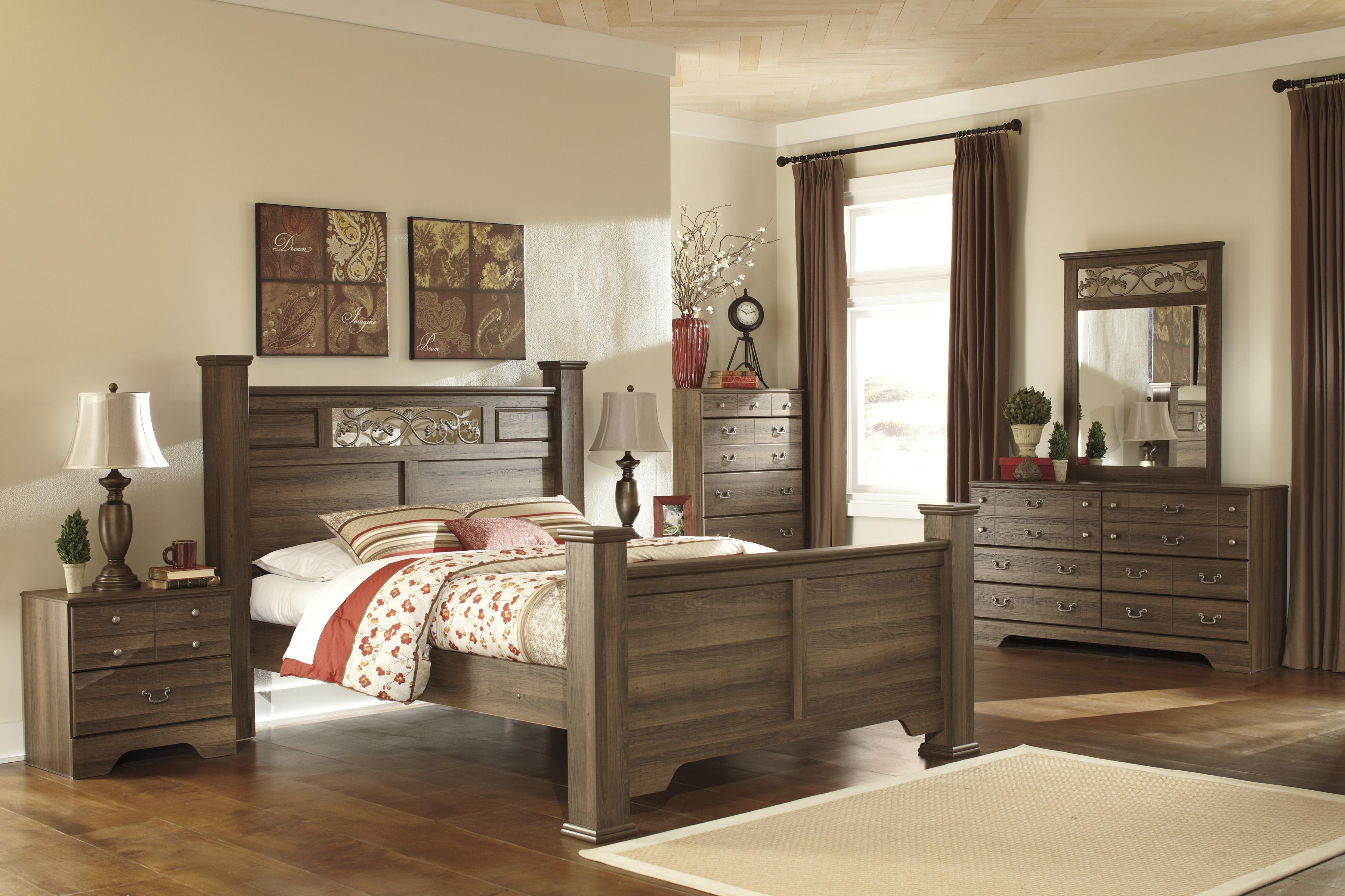 Signature design by ashley allymore queen poster bed with scrolled accents rifes home furniture panel beds