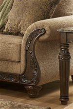 Elegant Rolled Arm with Carved Wood Accent