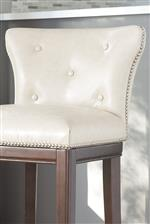 Button Tufted Low-Rise Back Upholstered with White Faux-Leather
