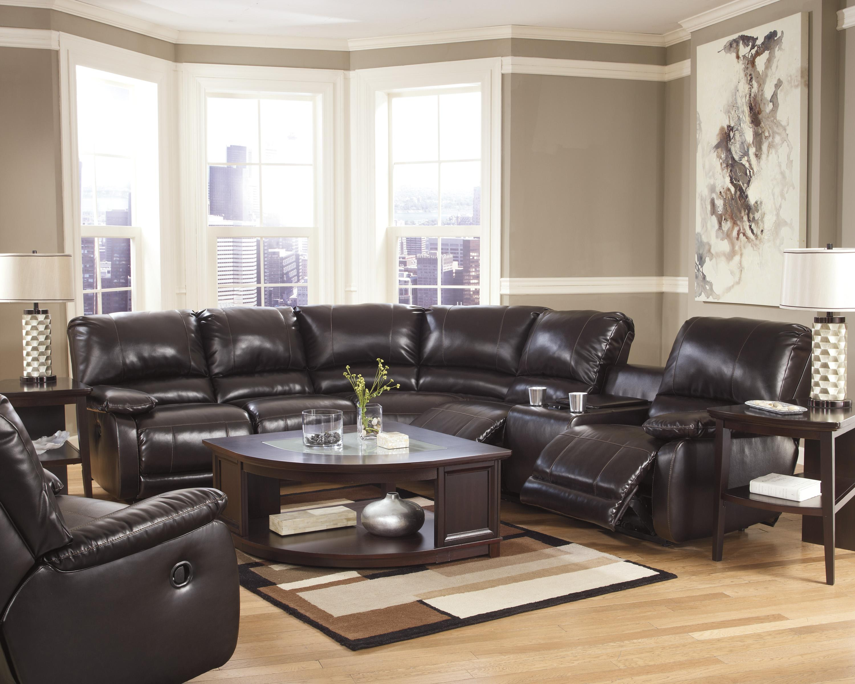 Signature Design by Ashley Capote DuraBlend® - Chocolate Reclining Living Room Group - Item Number: 44500 Living Room Group 1