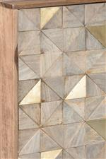Wood and Brass-Sheen Metal Accents