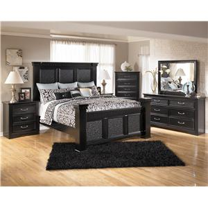 Signature Design by Ashley Cavallino King Mansion Poster Bed with Storage Footboard
