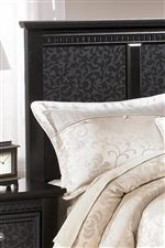 Dentil Molding Trim and Vine Pattern Panels on Headboard
