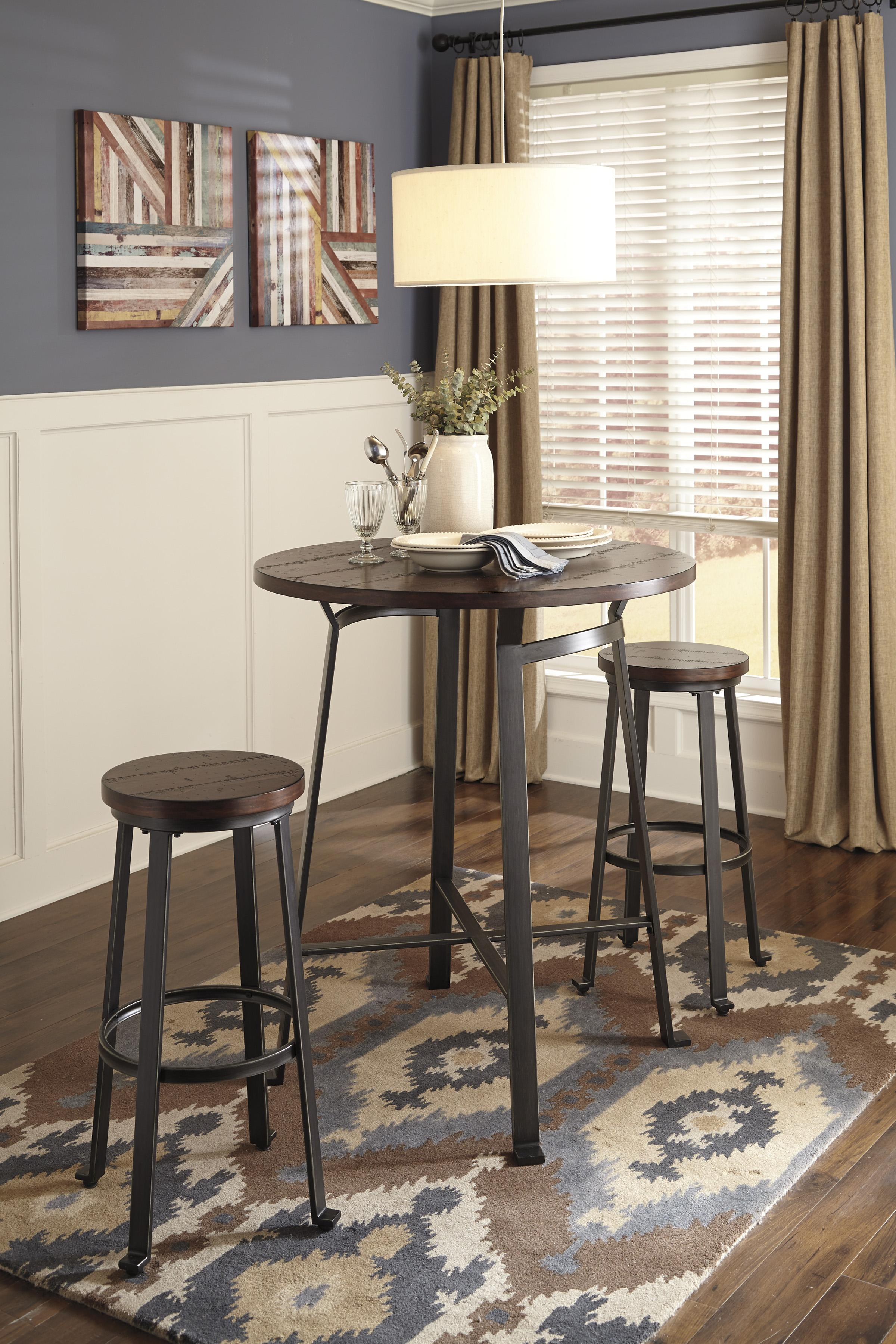 Signature Design by Ashley Challiman Industrial Style Round Dining Room Bar Table | Wayside Furniture | Pub Table & Signature Design by Ashley Challiman Industrial Style Round Dining ...
