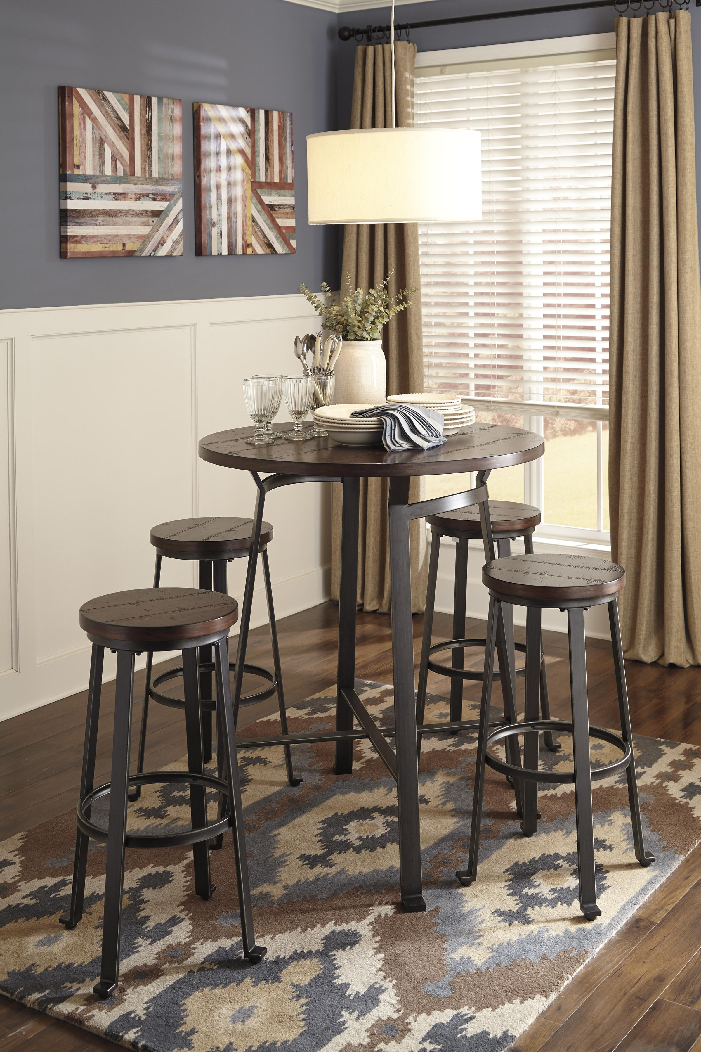 Signature Design By Ashley Challiman Industrial Style Round Dining Room Bar  Table | Wayside Furniture | Pub Table
