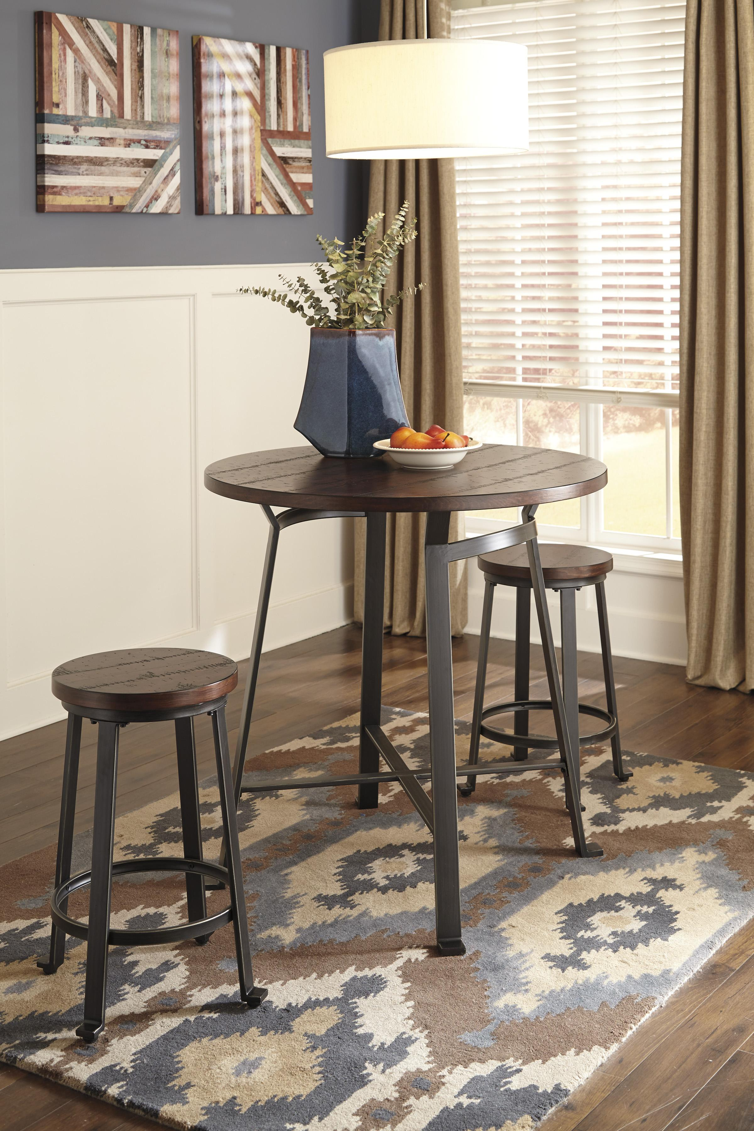Signature Design By Ashley Challiman Industrial Style Round Dining Room Bar Table