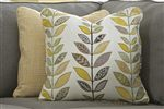 Golden Yellow Grid and Plant Accent Pillows with Sectional