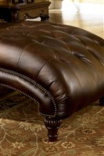 Sloped, Button-Tufted Chaise Seat with Nailhead Trim
