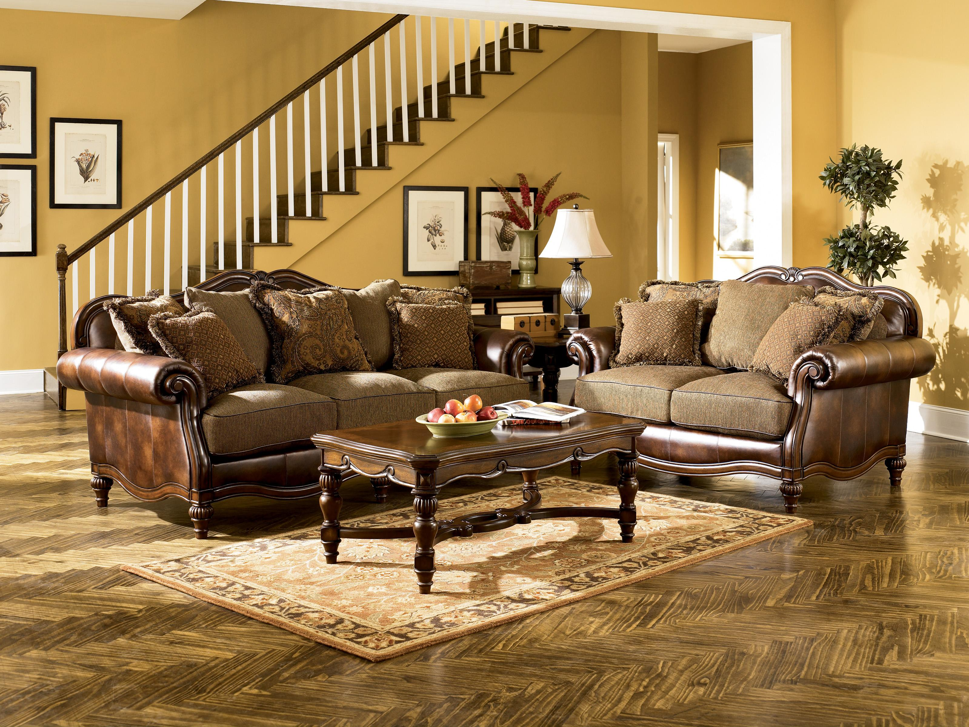 Signature Design by Ashley Claremore - Antique Stationary Living Room Group - Item Number: 84303 Living Room Group 1