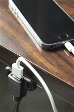 Built-In USB Charger on Back of Night Stand