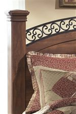 Square Sturdy Posts and Fretwork Detail of Poster Headboard