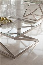 Angled Tubular Frame with Clear Tempered Glass Tops