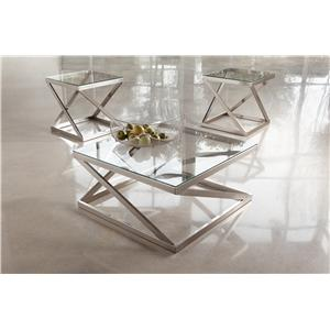 Signature Design by Ashley Coylin Brushed Metal Square Cocktail Table with Clear Tempered Glass Top