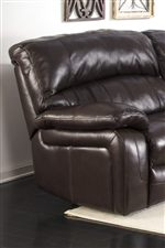 100% Top-Grain Leather in Seating Areas. Bustle Back Design. Sleek Pillow Arms.