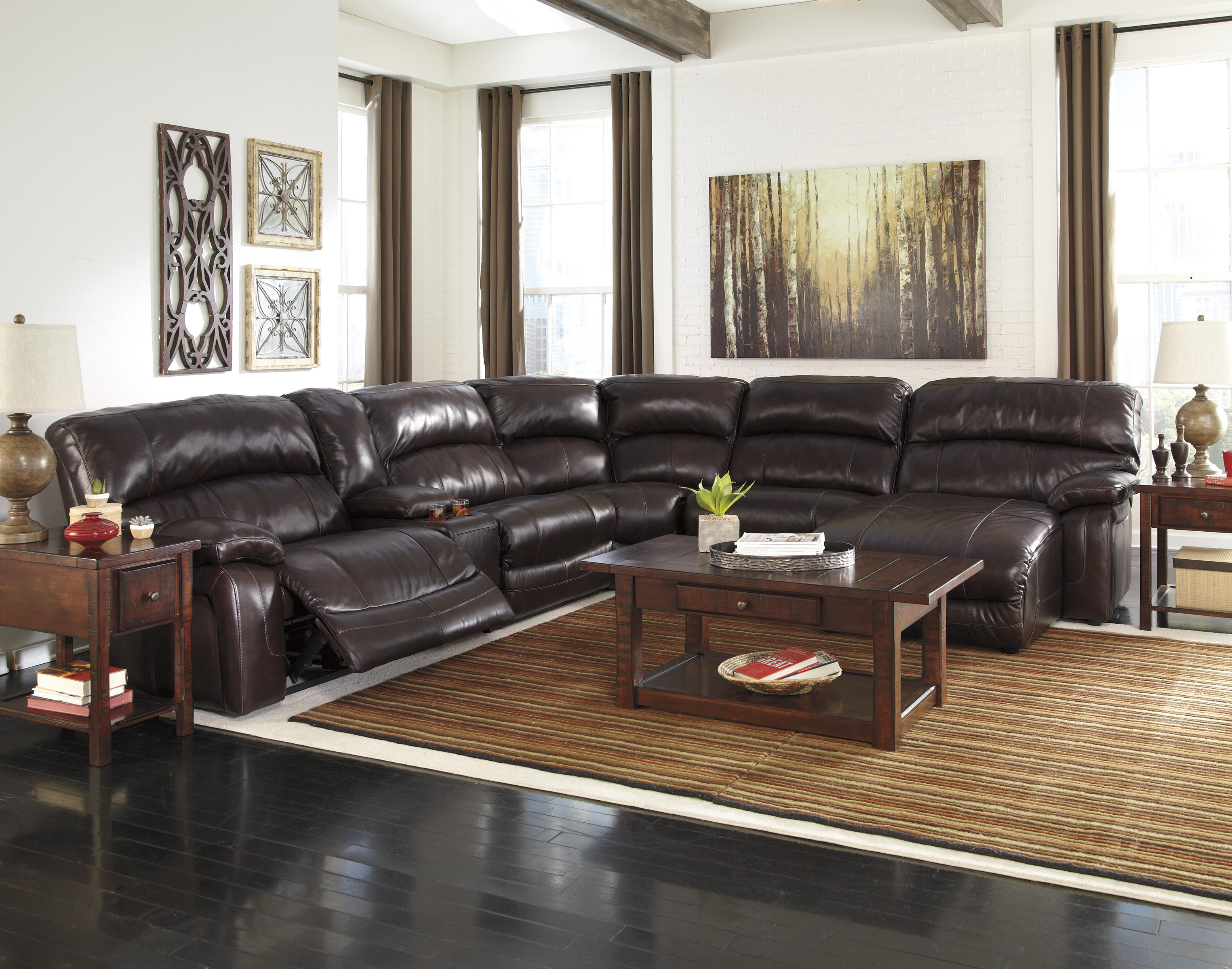 Damacio Dark Brown Reclining Sectional With Left Press Back Chaise By Signature Design By Ashley At Gallery Furniture
