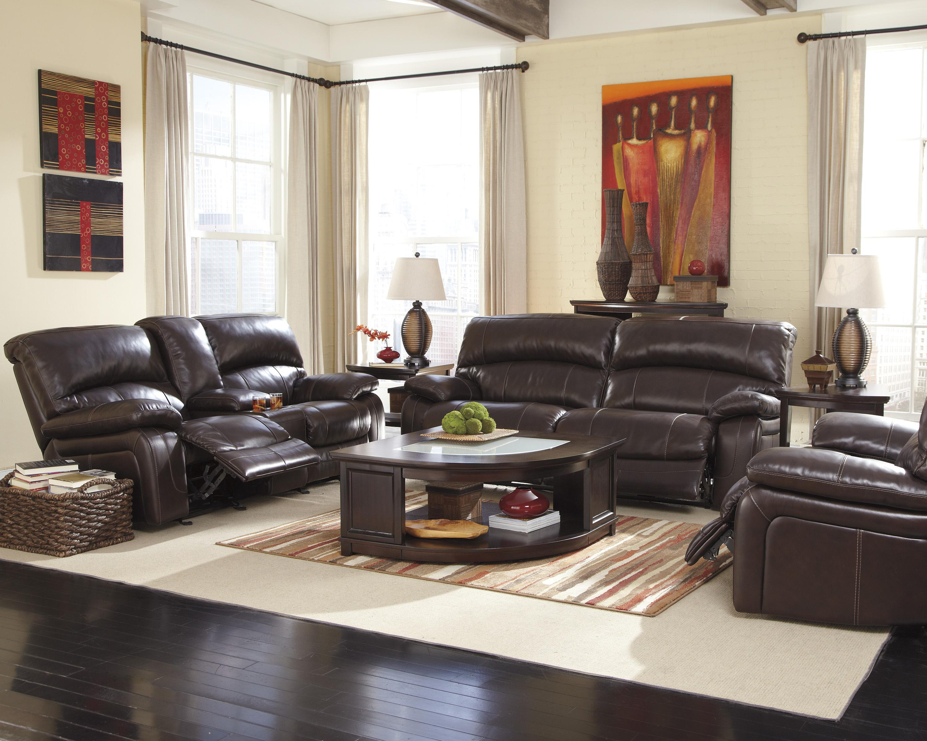 Signature Design by Ashley Damacio - Dark Brown Reclining Living Room Group - Item Number: U98200 Living Room Group 3