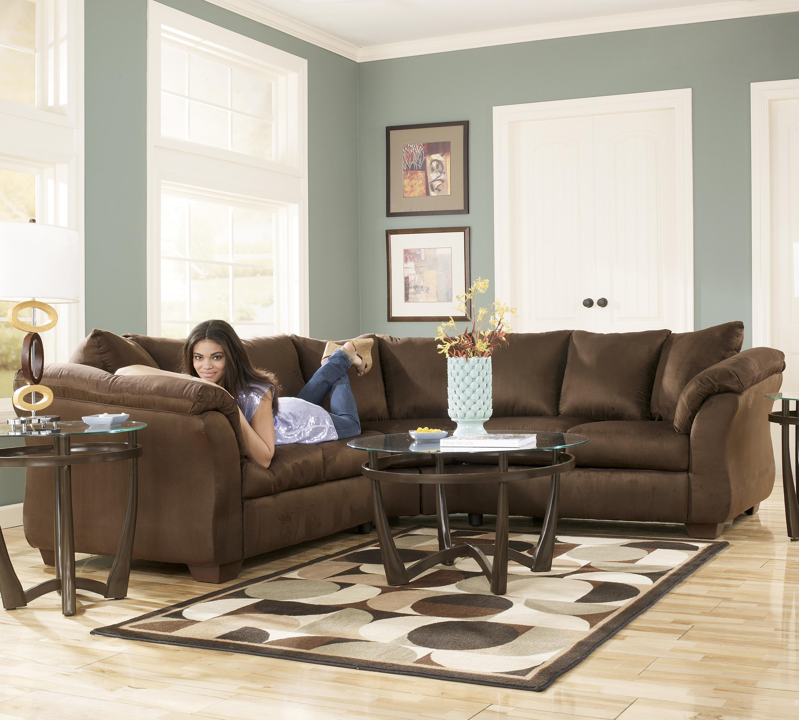Ordinaire Signature Design By Ashley Darcy   Cafe Contemporary Sectional Sofa With  Sweeping Pillow Arms | Wayside Furniture | Sectional Sofas