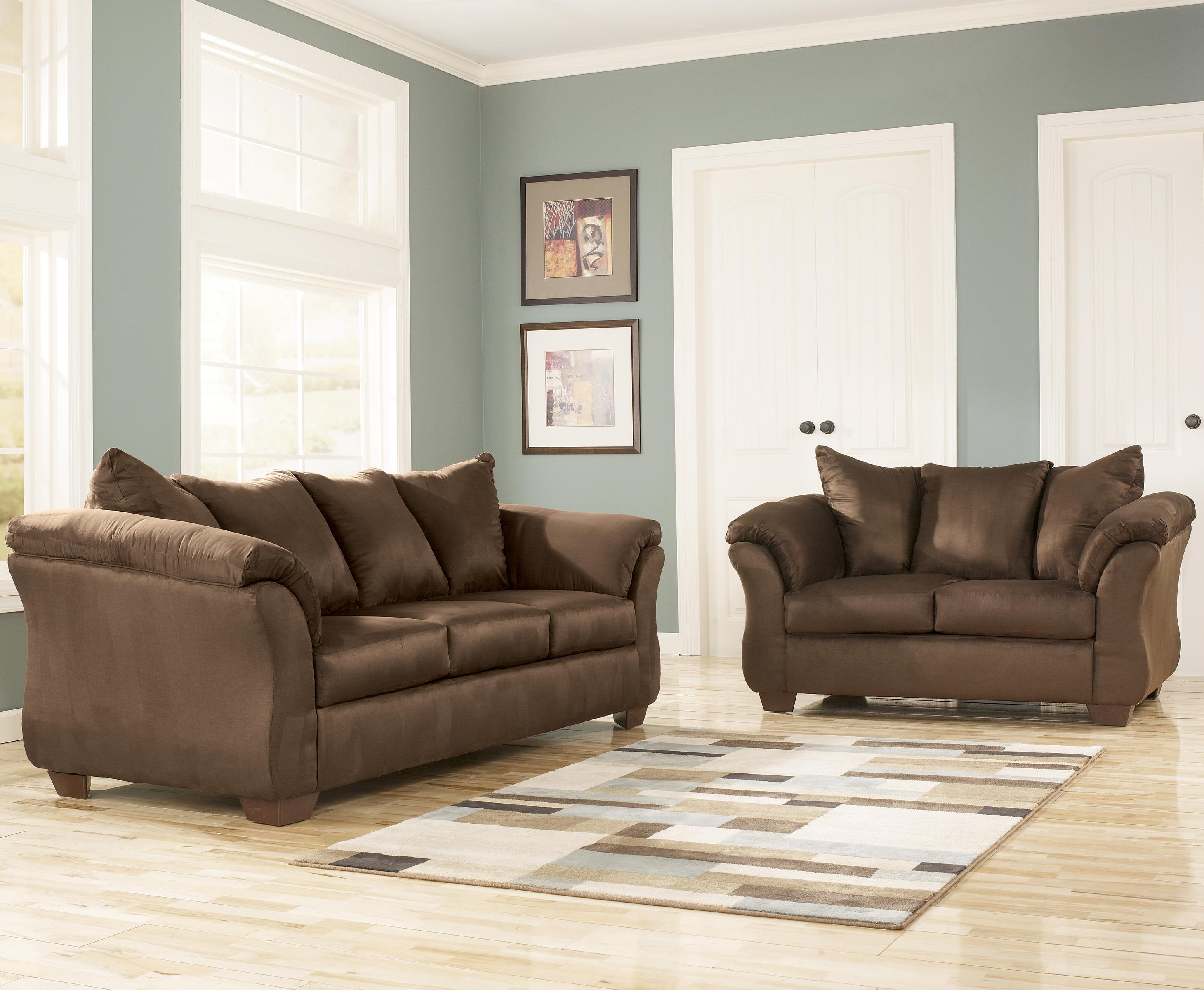 Signature Design By Ashley Darcy Cafe Contemporary Sectional Sofa With Sweeping Pillow Arms Wayside Furniture Sofas