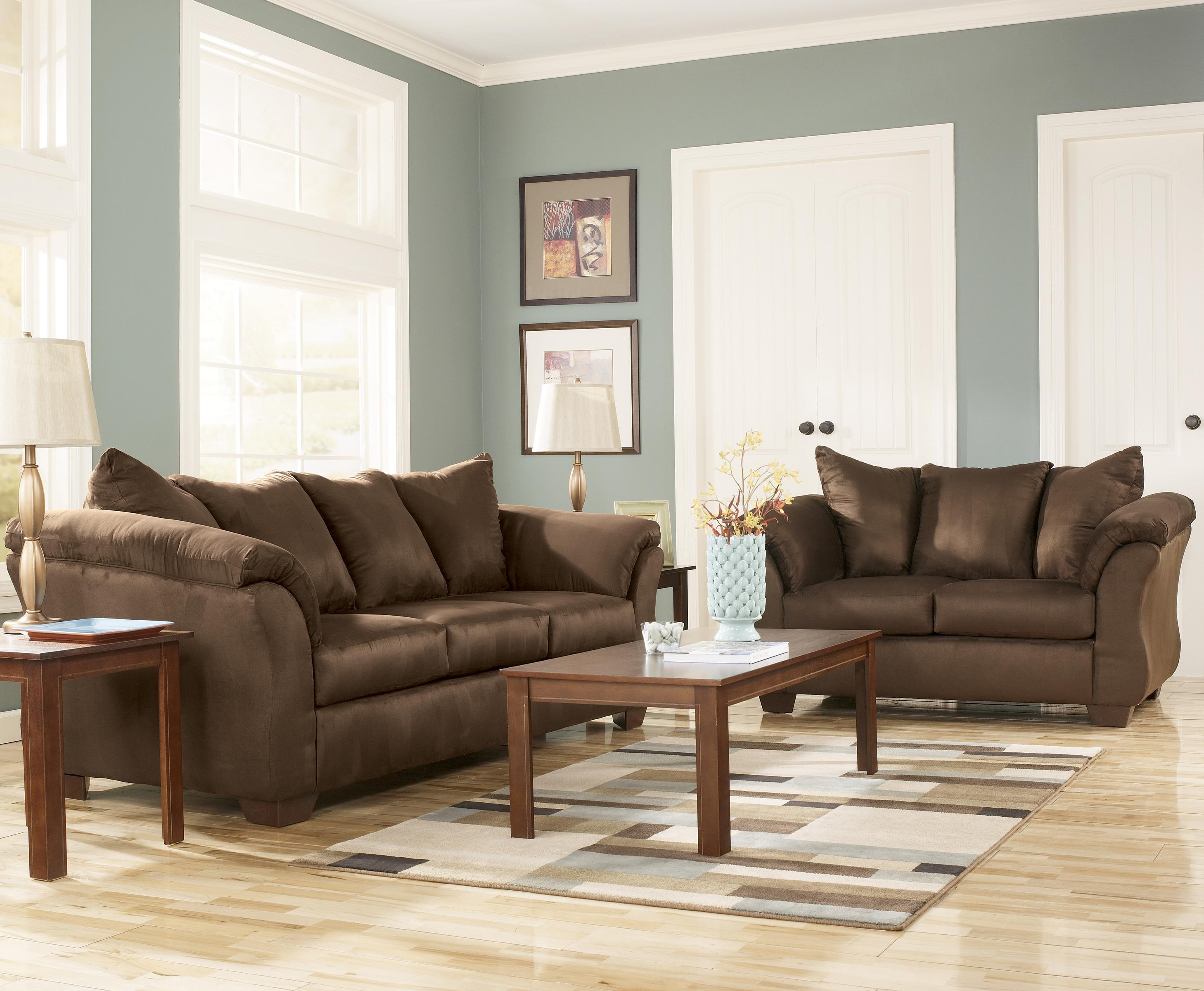 Ashley Signature Design Darcy   Cafe Contemporary Sectional Sofa with  Sweeping Pillow Arms   Rooms and Rest   Sectional SofasAshley Signature Design Darcy   Cafe Contemporary Sectional Sofa  . Fabric Living Room Sets. Home Design Ideas