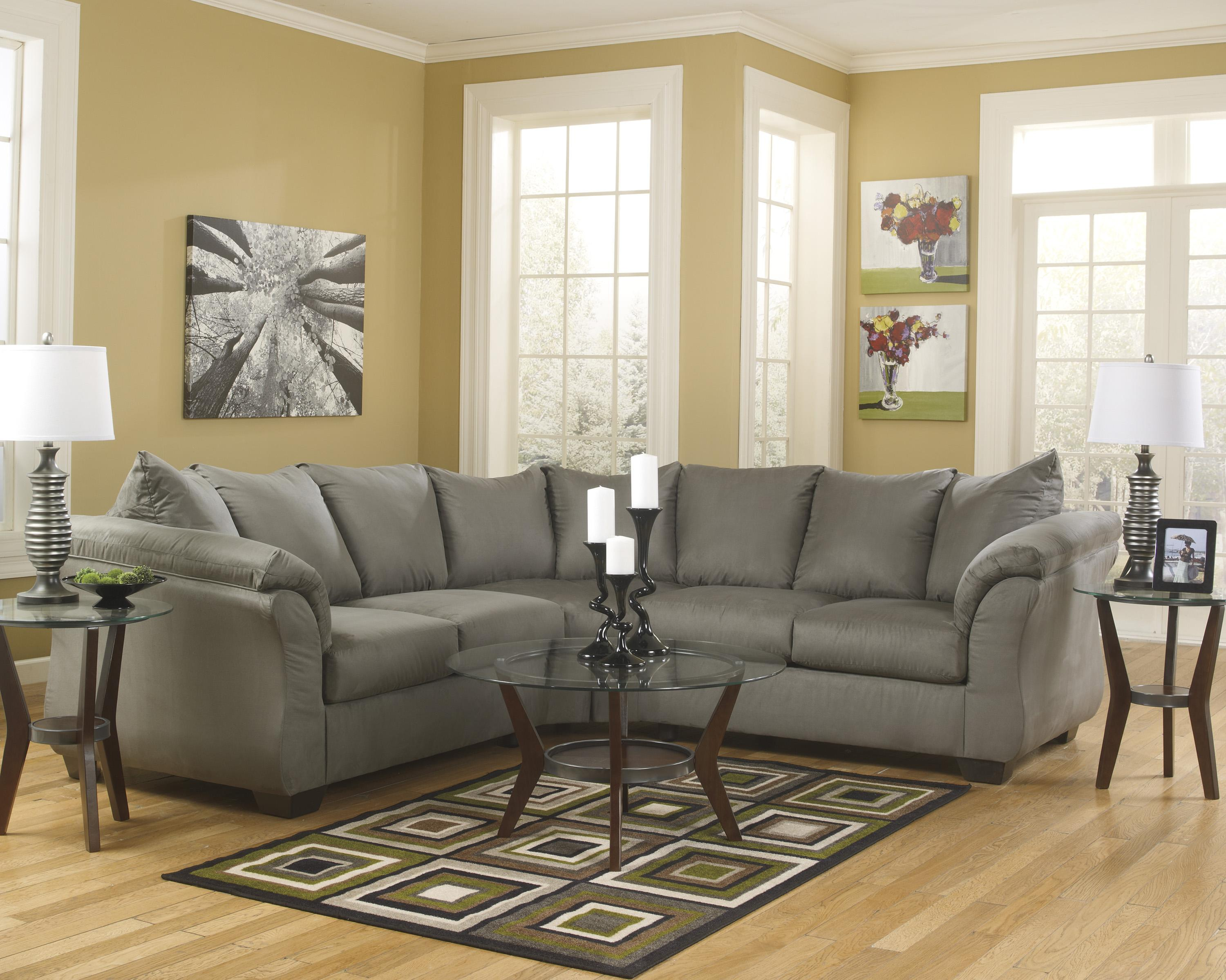 Signature Design By Ashley Darcy Cobblestone Contemporary Sectional Sofa With Sweeping Pillow Arms Furniture Fair North Carolina Sofas