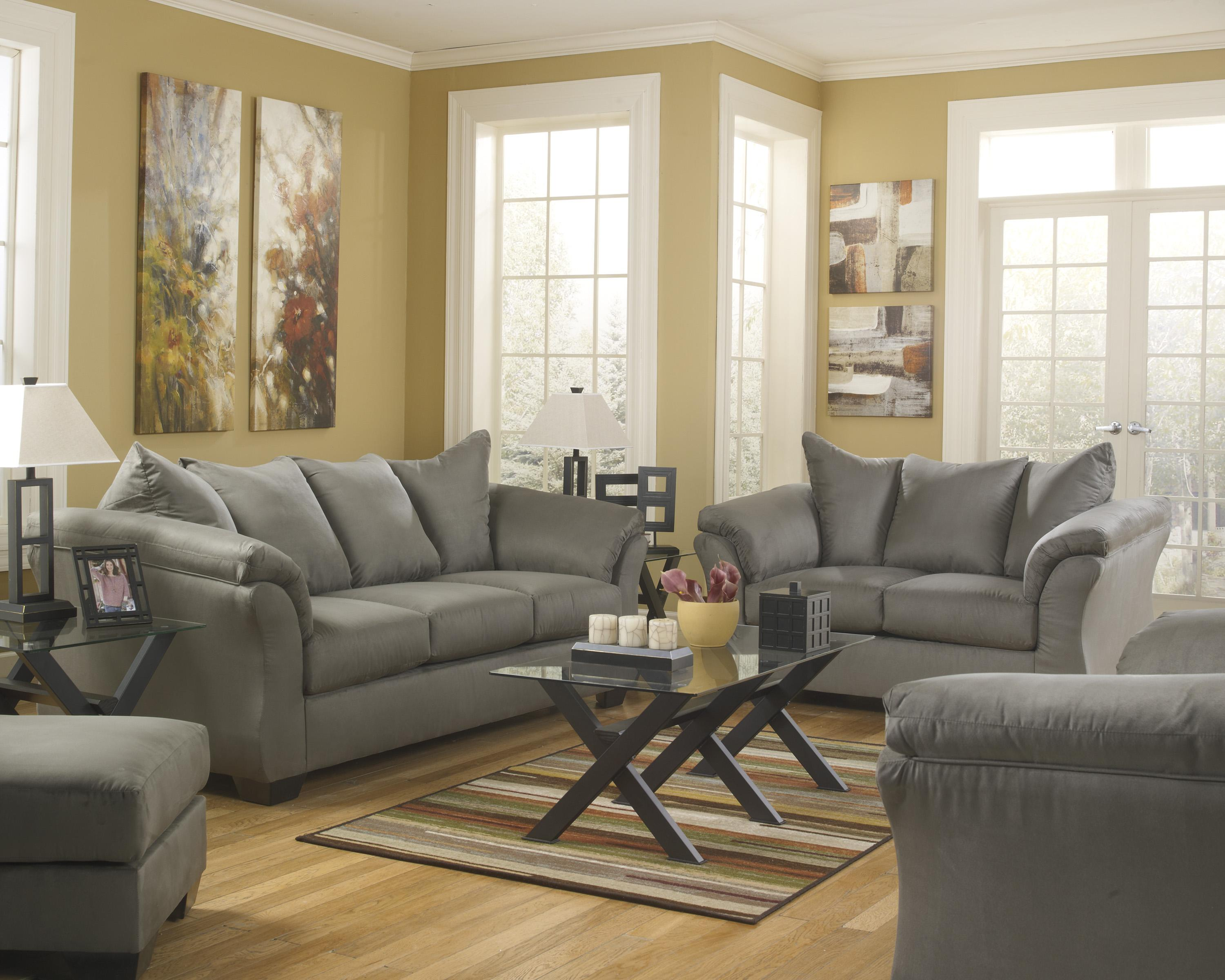 Signature Design By Ashley Darcy   Cobblestone Contemporary Sectional Sofa  With Sweeping Pillow Arms | Wayside Furniture | Sectional Sofas
