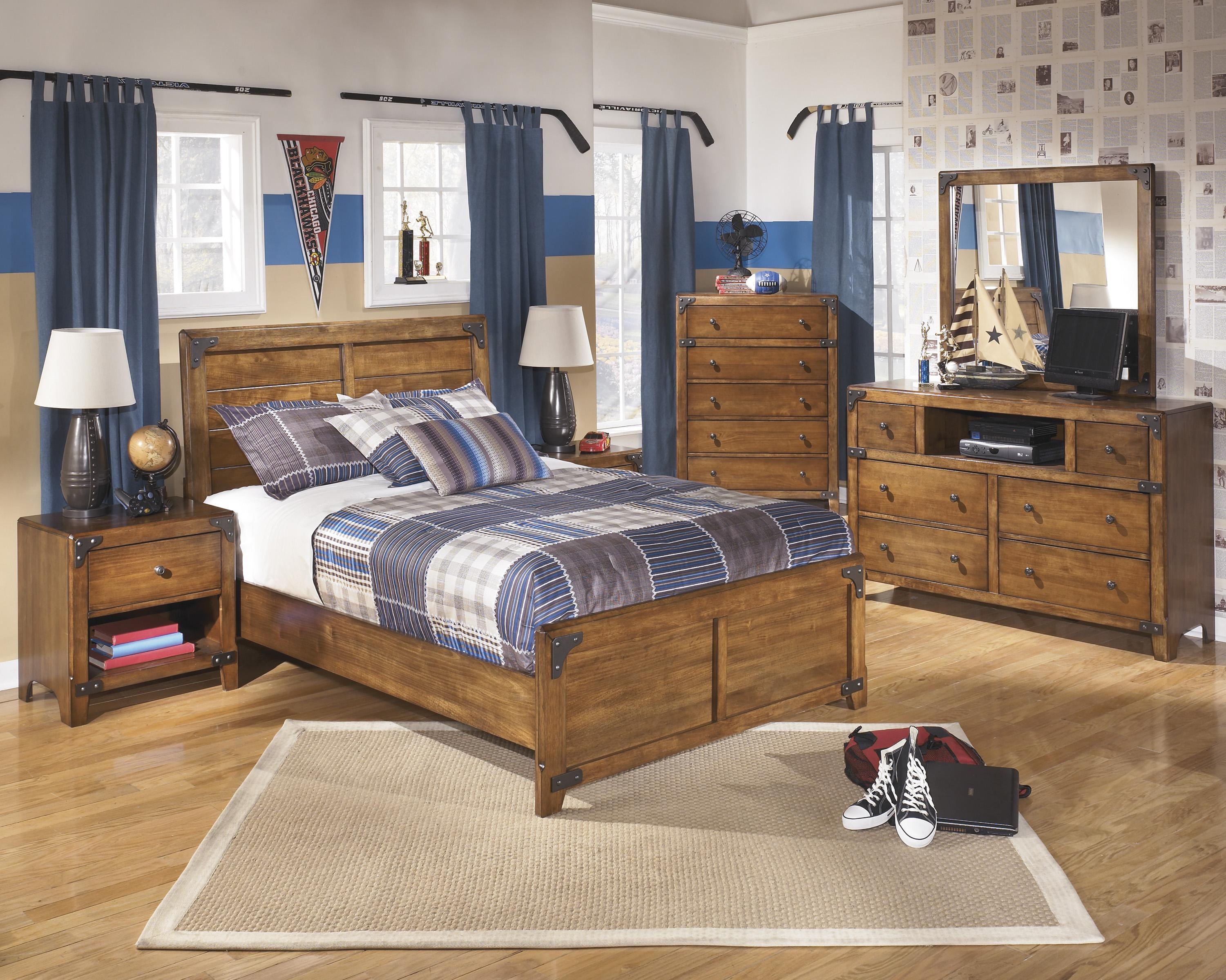 Ashley rustic bedroom furniture - Ashley Signature Design Delburne Twin Panel Bed In Rustic Pine Dunk Bright Furniture Headboard Footboard
