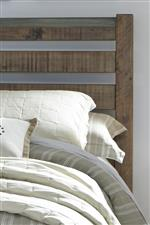 Metal Banding and Wide Slats on Sleigh Headboard