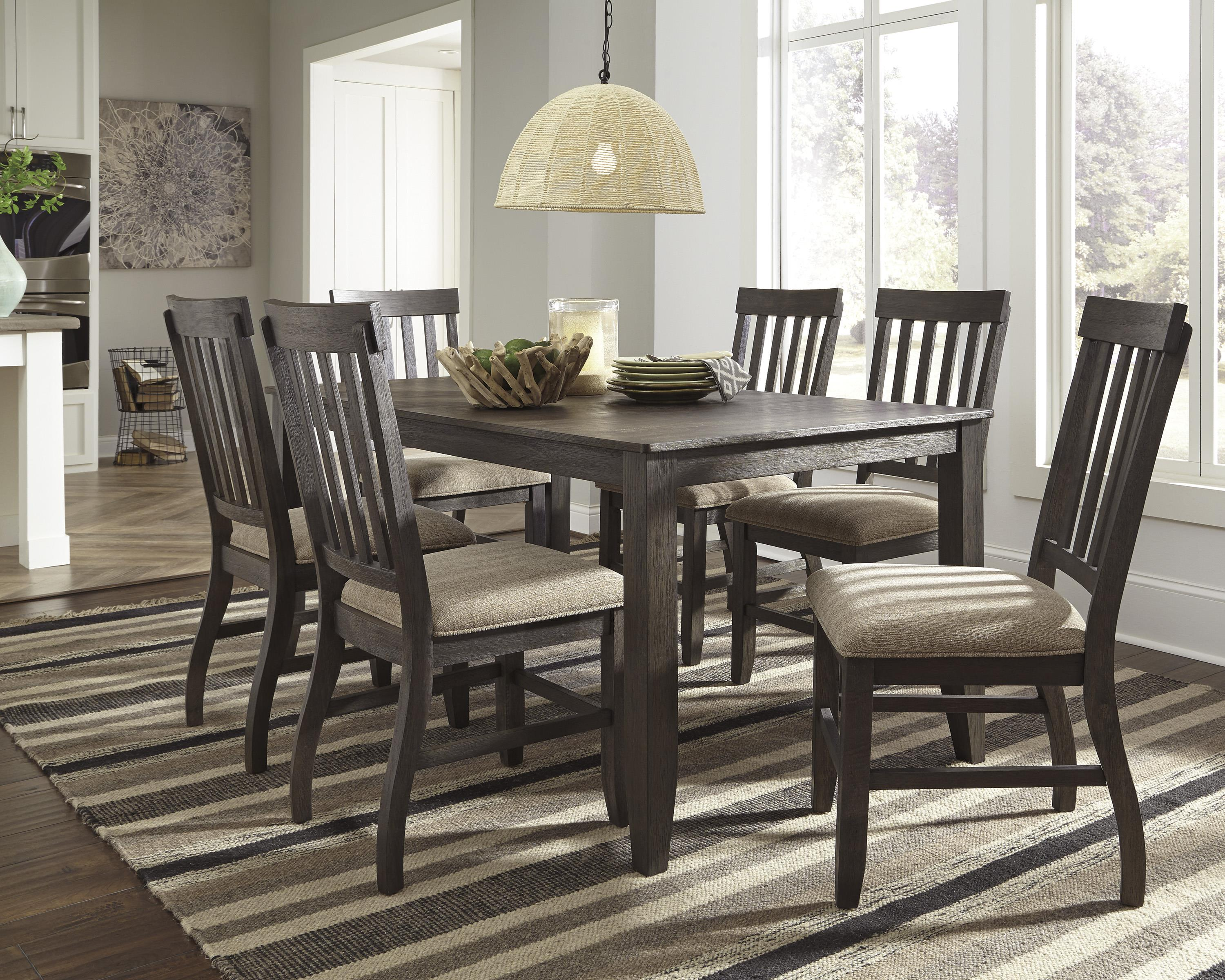 Signature Design By Ashley Dresbar Square Dining Room Counter Table With  Wire Brushed Brown Gray Finish   Wayside Furniture   Pub Table