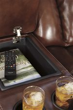 Built-in Storage Console with Cup Holders
