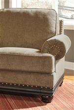 Nailhead Trim. Rolled Arms. Faux Wood Trim.