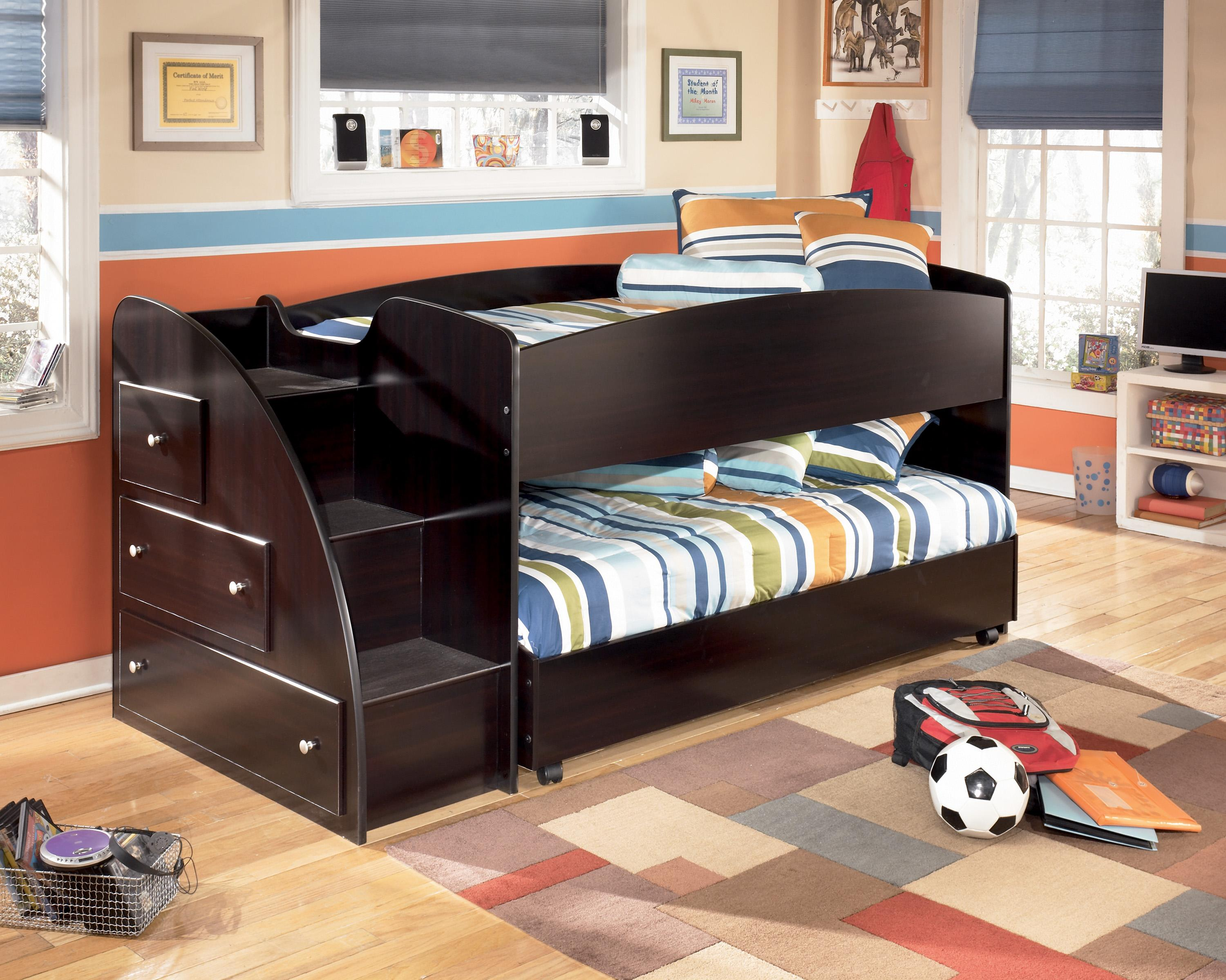 Signature Design By Ashley Embrace Twin Loft Bed With Left Storage Steps,  Bookcase & Chest  Wayside Furniture  Loft Beds