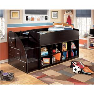 Signature Design by Ashley Embrace Twin Loft Bed with Right Storage Steps and Bookcases