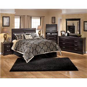 Signature Design by Ashley Esmarelda Queen Storage Bed with 2 Footboard Drawers & Faux Marble Trim