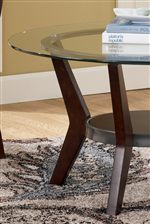Glass Table Tops and Contemporary Wood Base with Metal Accents