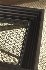 Wood Framed Table Tops with Glass Inset Center. Grille Detail Under Glass.