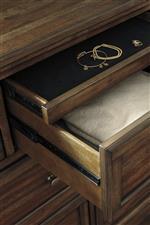 Concealed Felt-Lined Drawer in Dresser