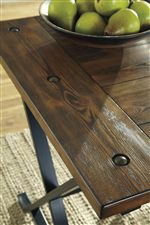 Plank Look Pine Table Top with Industrial Style Rivets