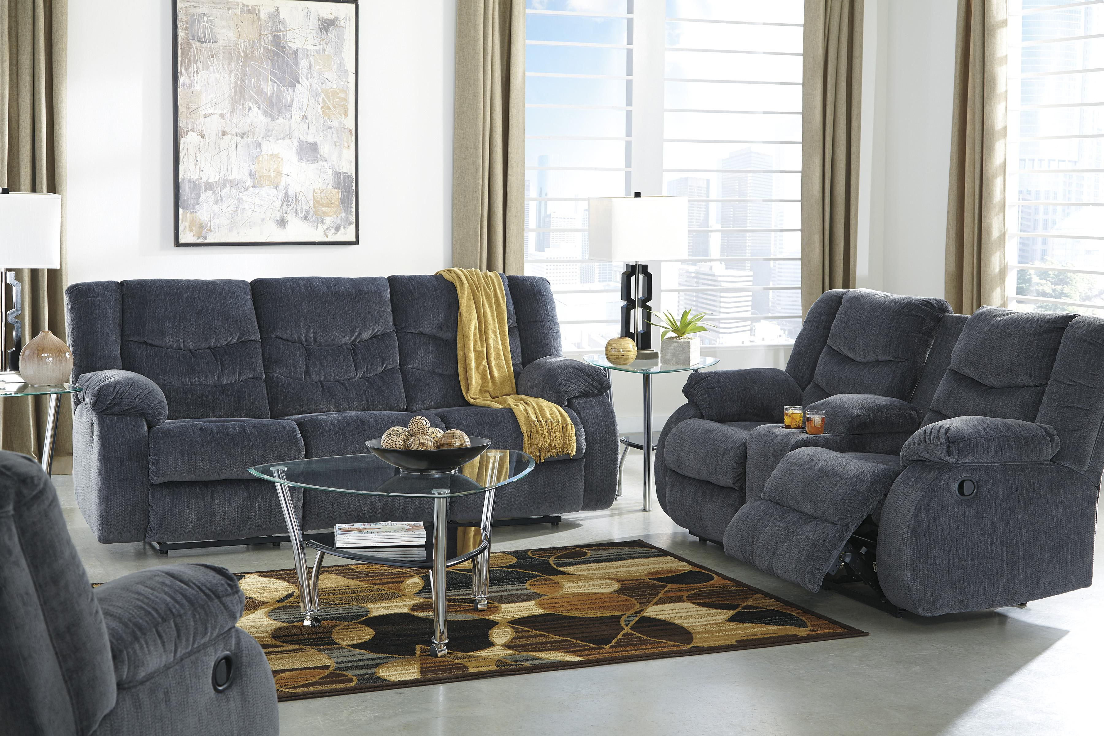 Signature Design by Ashley Garek - Blue Reclining Living Room Group - Item Number: 92001 Living Room Group 1