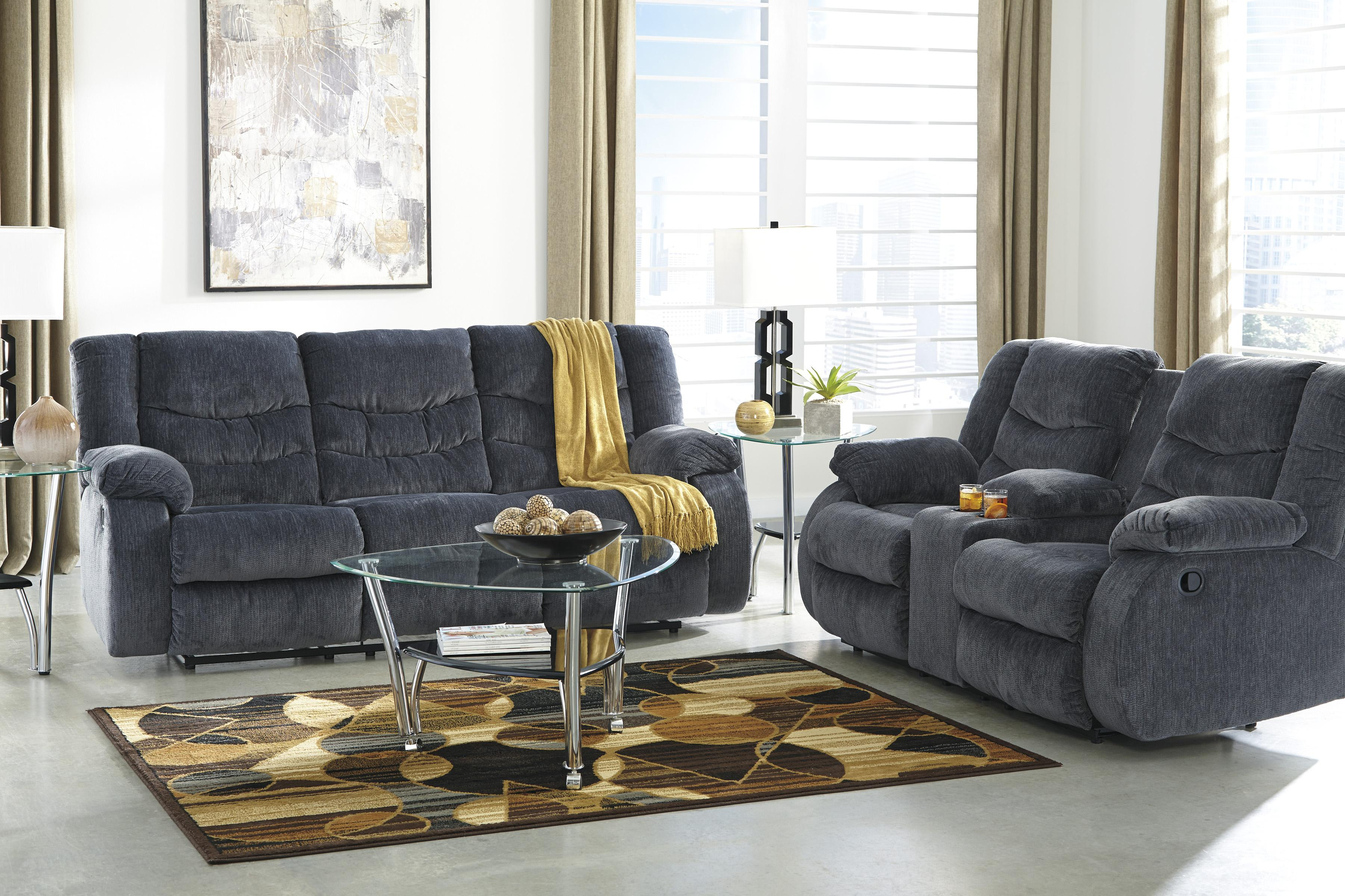 Signature Design by Ashley Garek - Blue Reclining Living Room Group - Item Number: 92001 Living Room Group 3